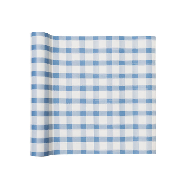 Blue & White Picnic Check Paper Table Runner
