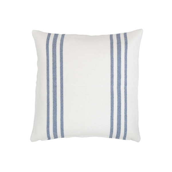Pier Stripe Indoor Outdoor Pillow in White and Denim