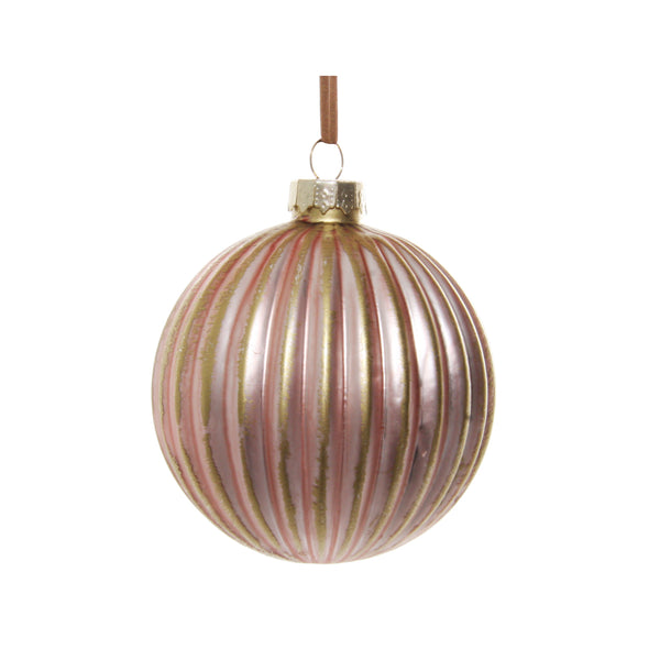 Pink and Gold Reeded Ornament