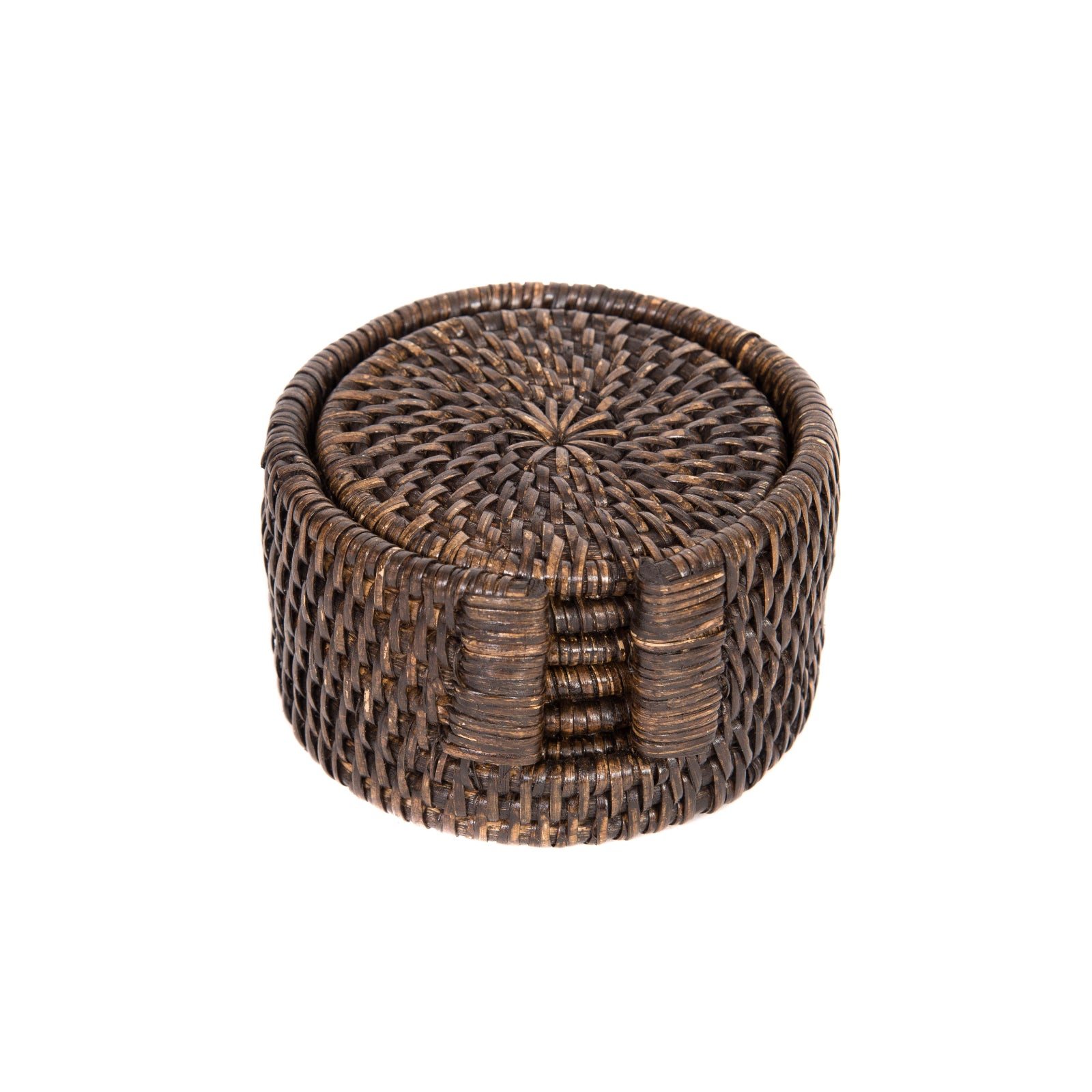 Rattan Coaster Set in Espresso
