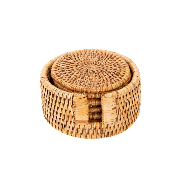 Rattan Coaster Set in Honey