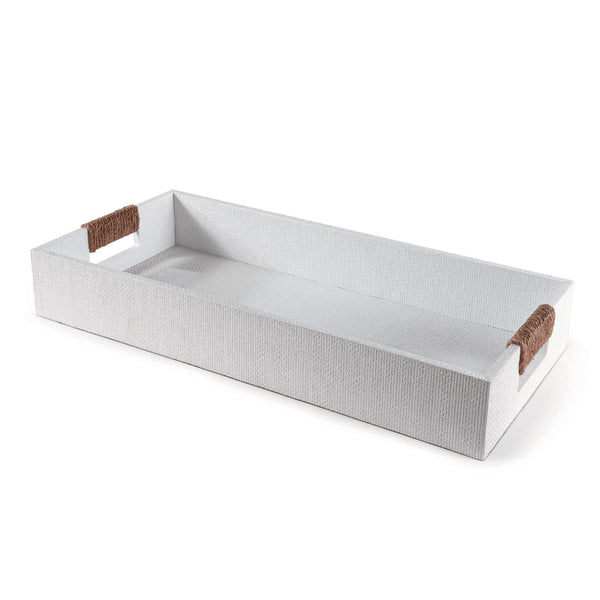 White Woven Tray - Rectangle