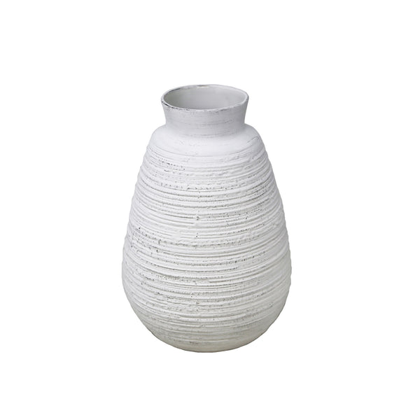 Scalloped White Ceramic Vase