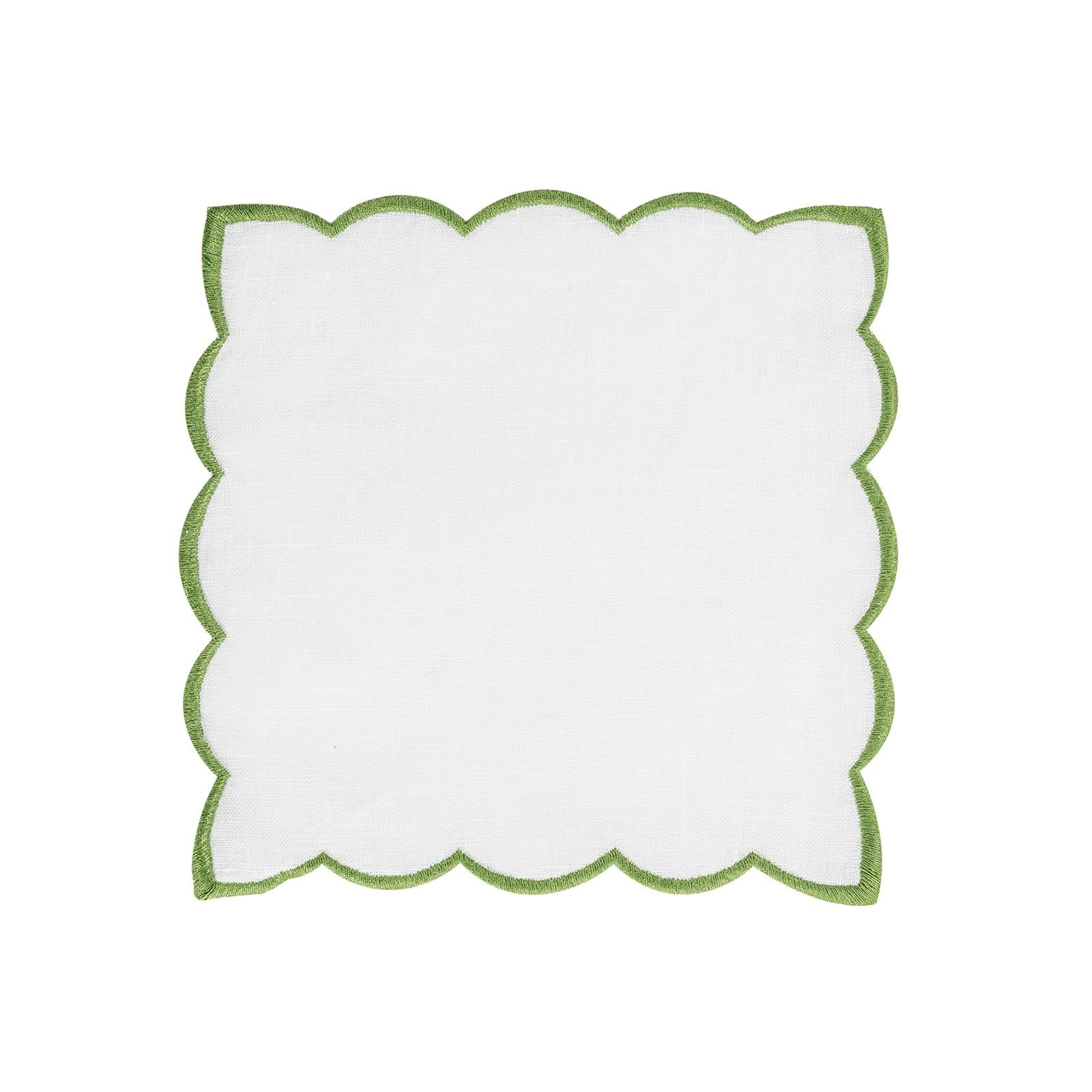 Set of 6 Linen Green Scalloped Napkins