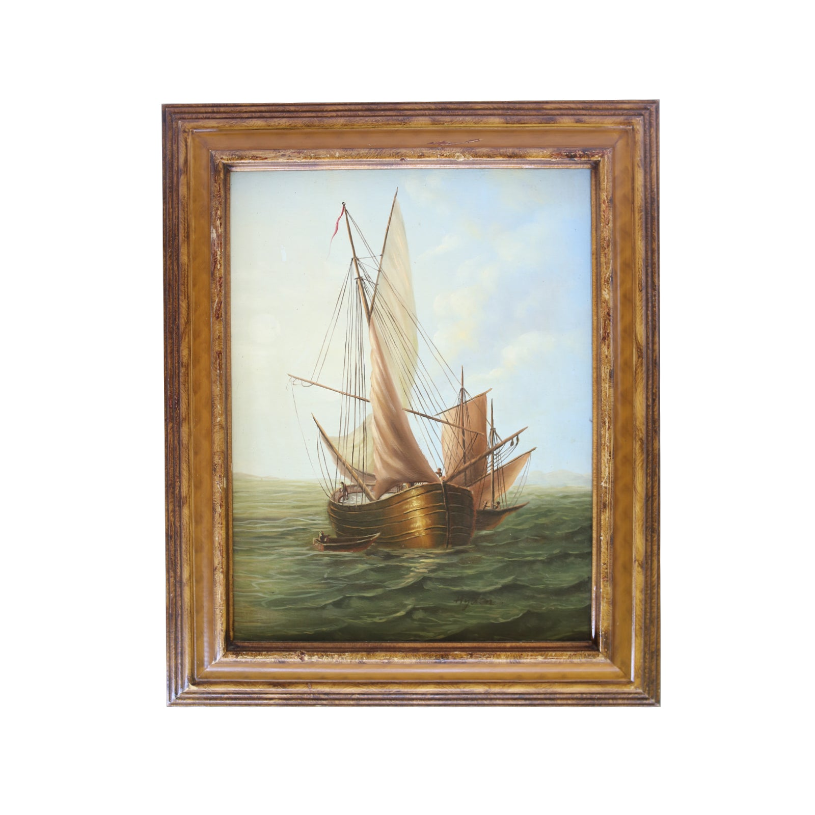 Ship at Sea Vintage Art