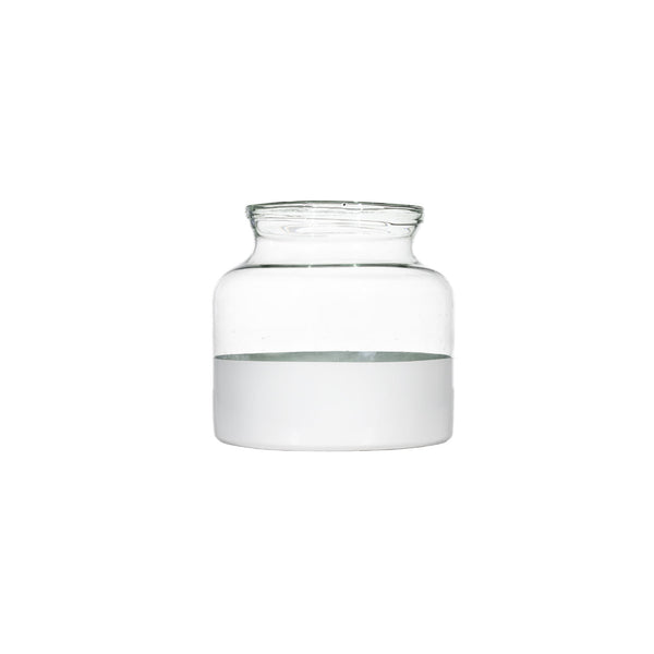 Small White Dipped Glass Jar