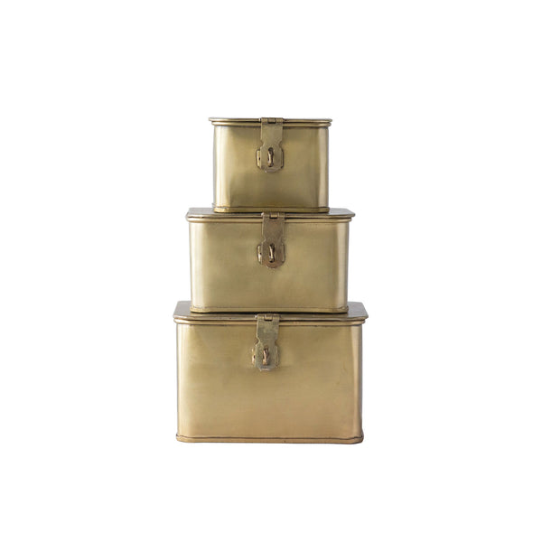 Set of Small Brass Boxes