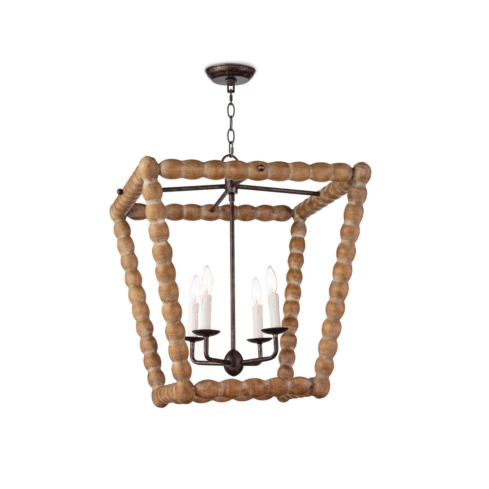 Spool Lantern in Washed Wood