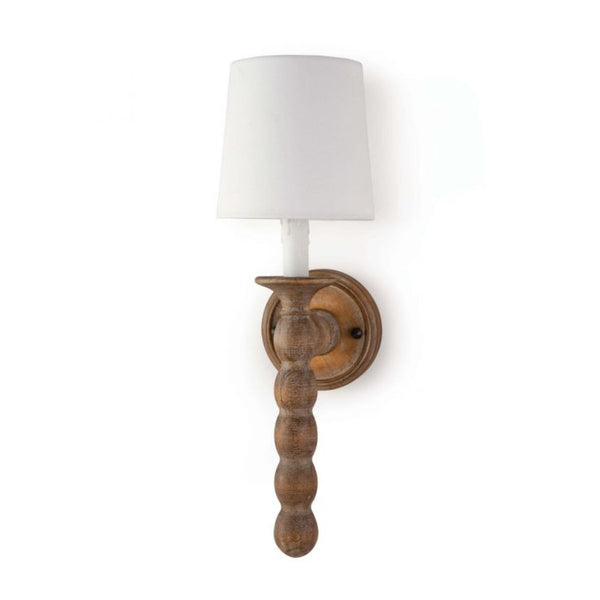 Spool Sconce in Washed Wood