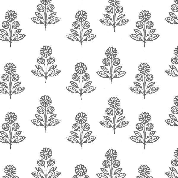 Stella Floral Fabric in Charcoal