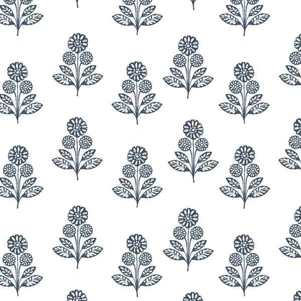 Stella Floral Fabric in Navy