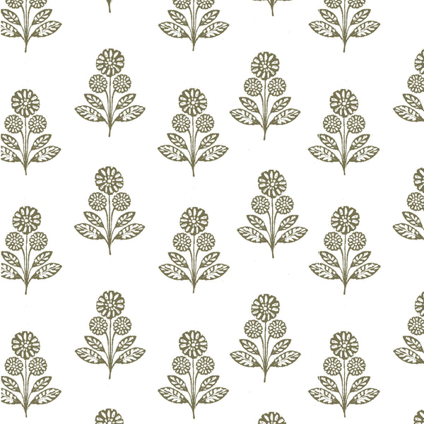 Stella Floral Fabric in Olive