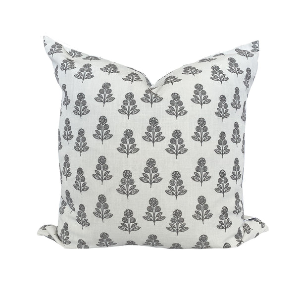 Stella Floral Pillow in Charcoal