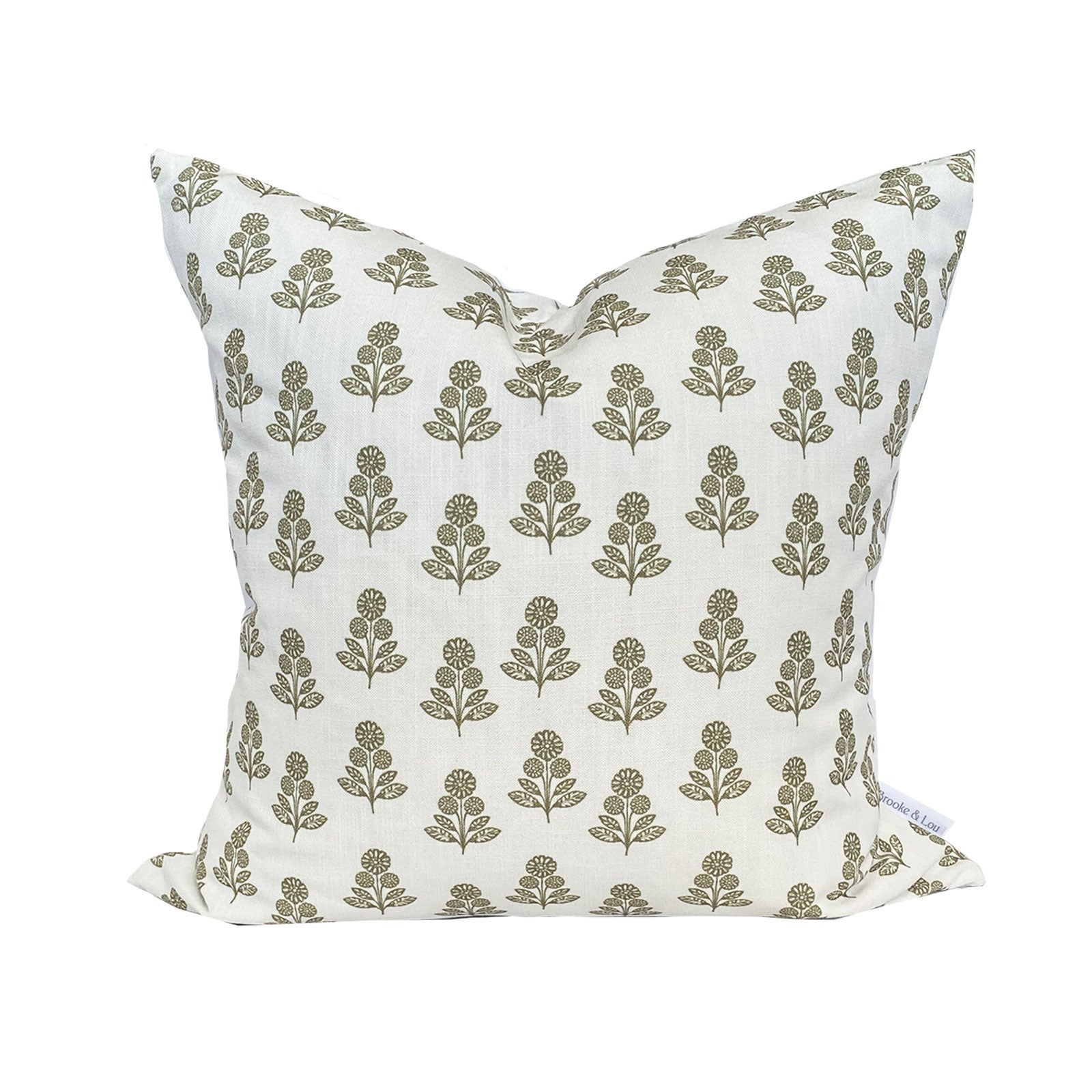 Stella Floral Pillow in Olive
