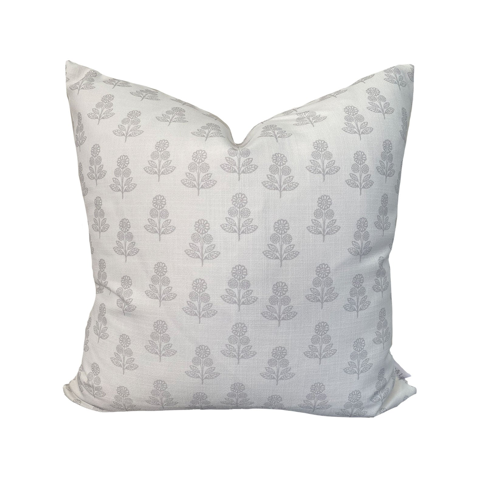 Stella Floral Pillow in Stone Grey