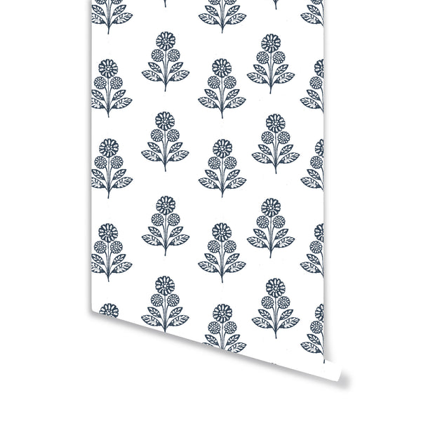 Stella Floral Wallpaper in Navy