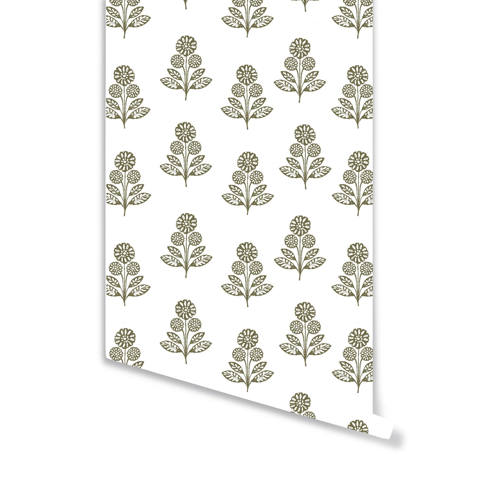 Stella Floral Wallpaper in Olive