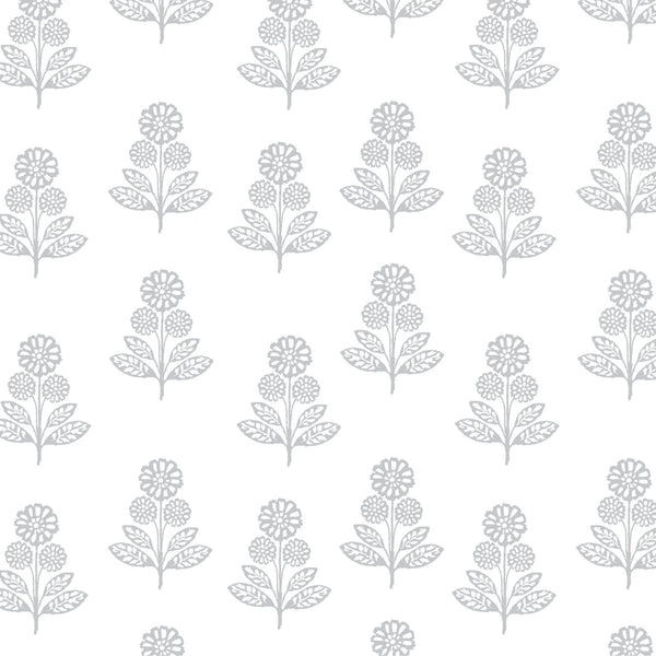 Stella Floral Fabric in Stone Grey