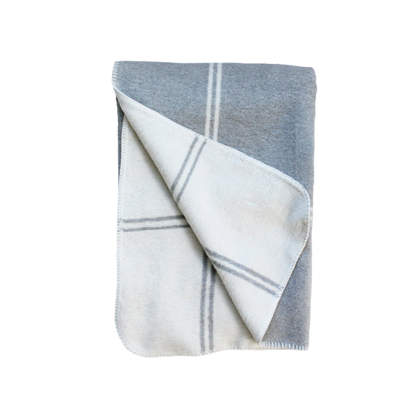 Stitched Windowpane Plaid Throw in Light Grey
