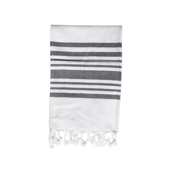 Striped Hand Towel in Dark Grey