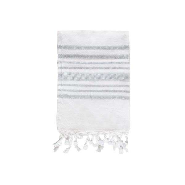 Striped Hand Towel in Soft Grey