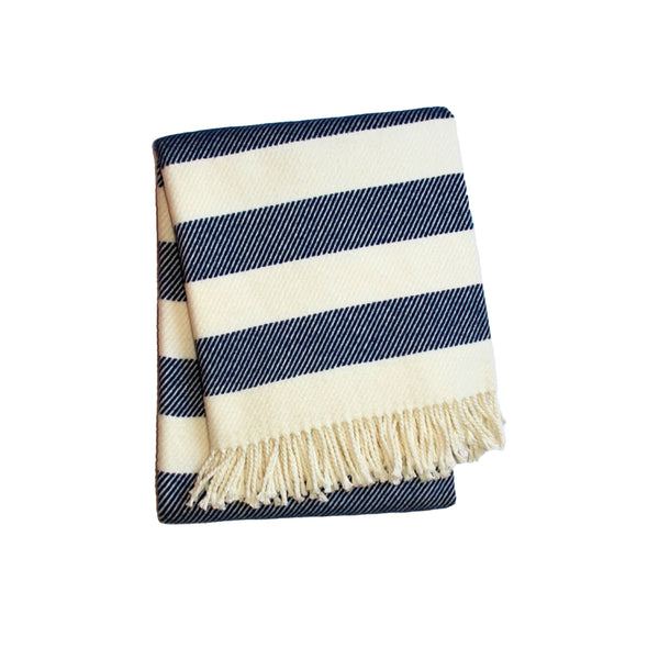 Cabana Stripe Throw in Navy