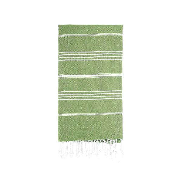 Turkish Striped Hand Towel- Crisp Green