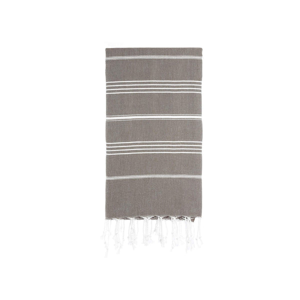 Turkish Striped Hand Towel- Latte