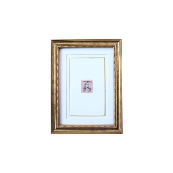 Vintage Postage Stamp Art in Pink