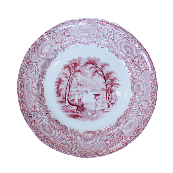Vintage Rose & White Plate No.1