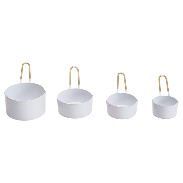 White and Brass Measuring Cups