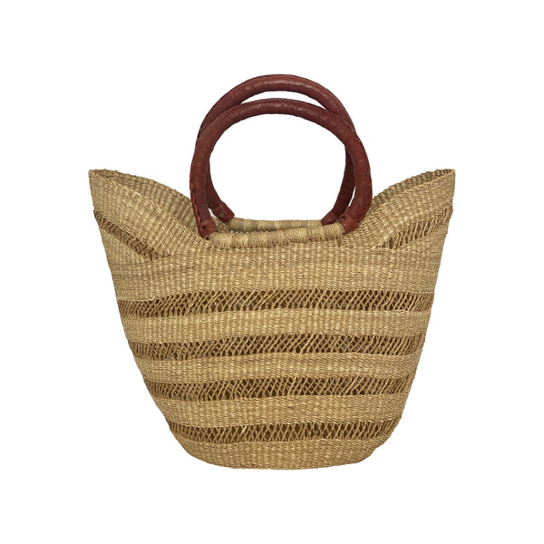 Collected Wicker Bag with Red Leather Handles