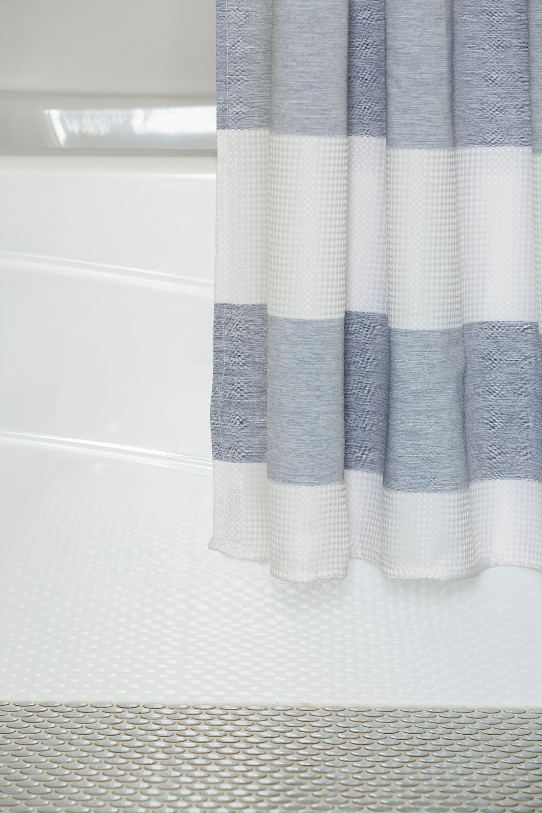 Wide Stripe Shower Curtain in Blue