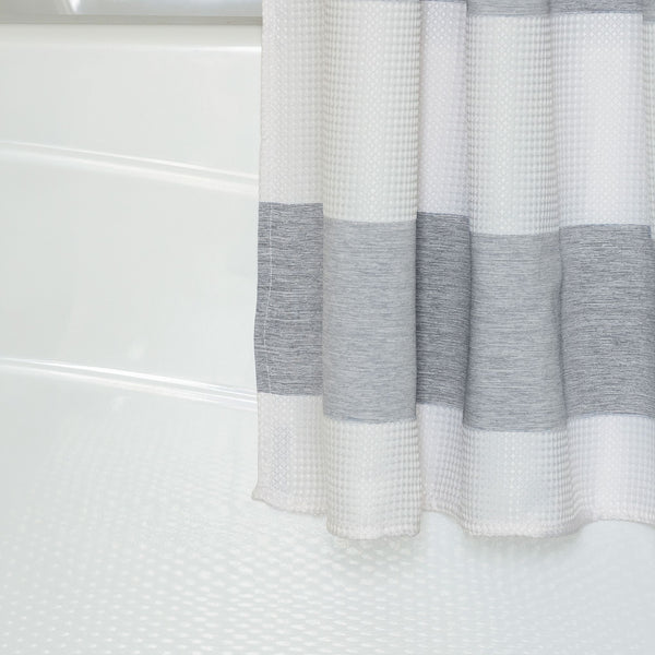 Wide Stripe Shower Curtain in Grey