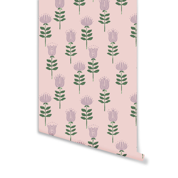 Willa Wallpaper in Crystal Pink