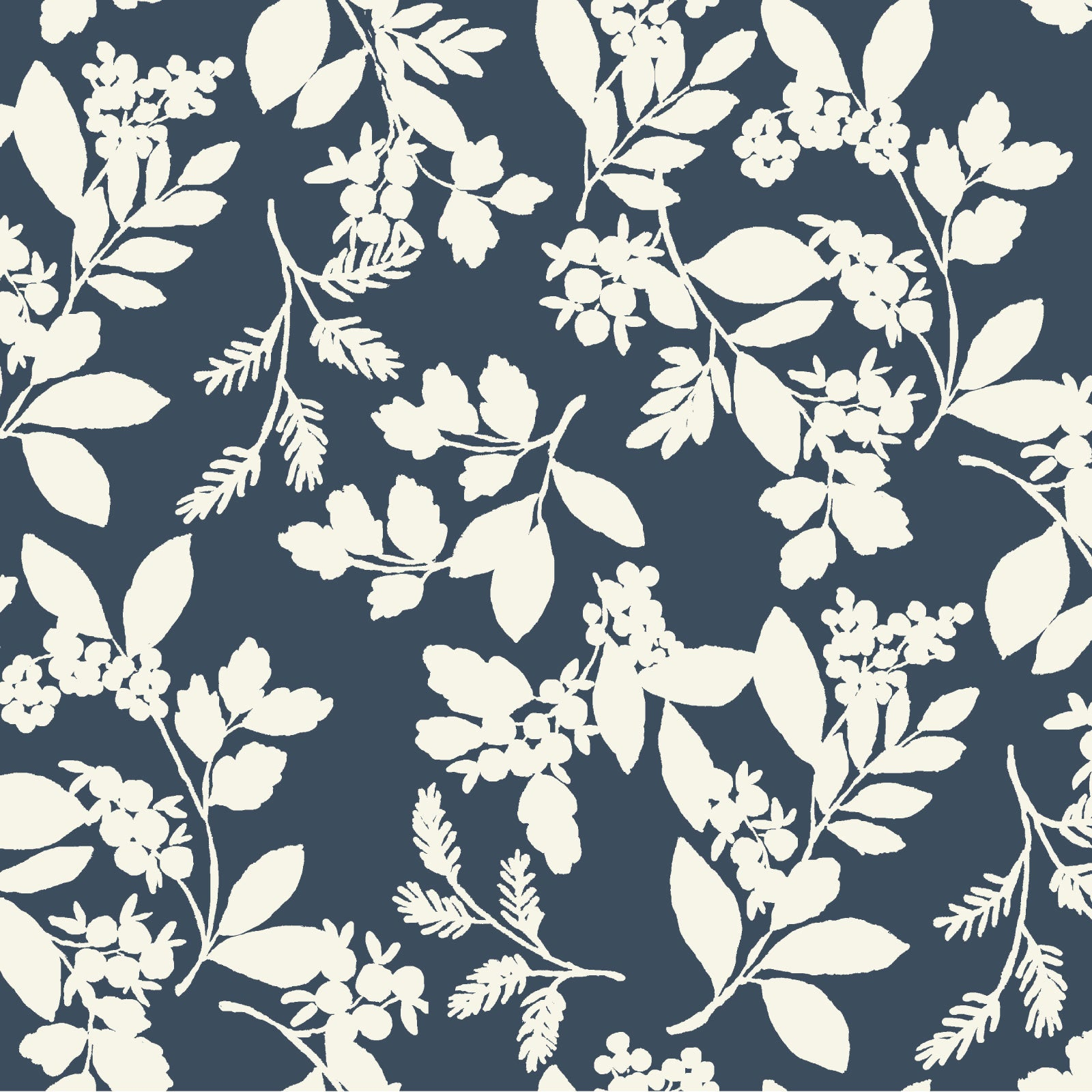 Winter Berry Fabric in Navy and White