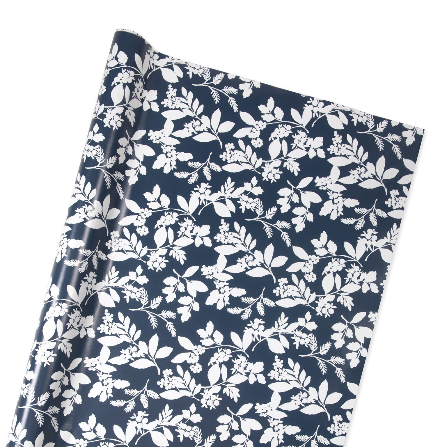 Winter Berry Wrapping Paper in Navy and White