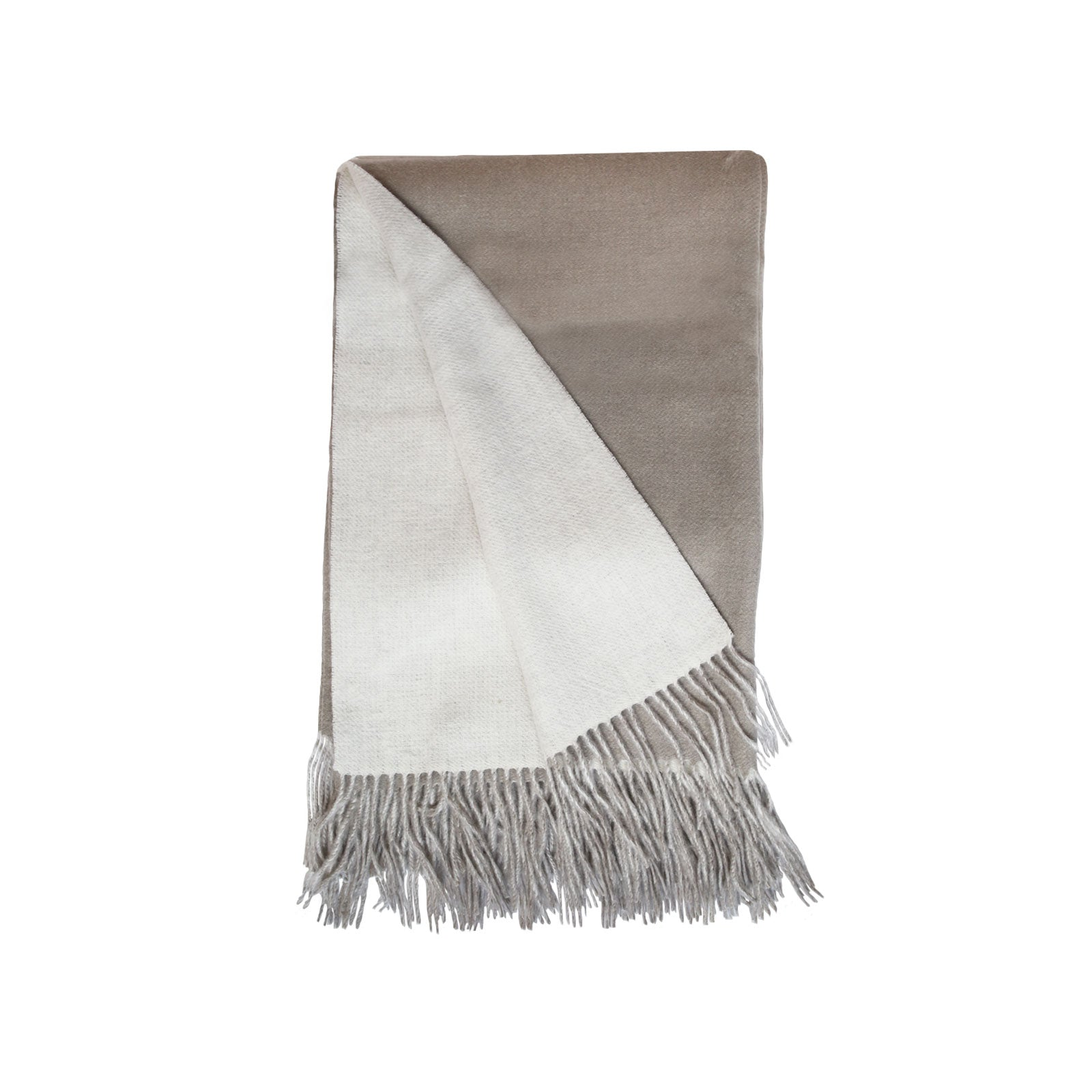 Wool and Cashmere Woven Throw in Stone & Light Grey
