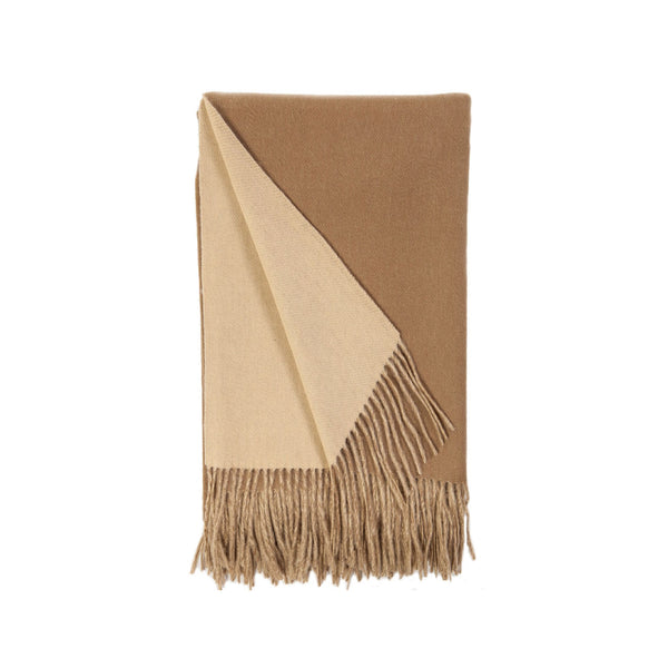 Wool and Cashmere Woven Throw in Camel & Butterscotch