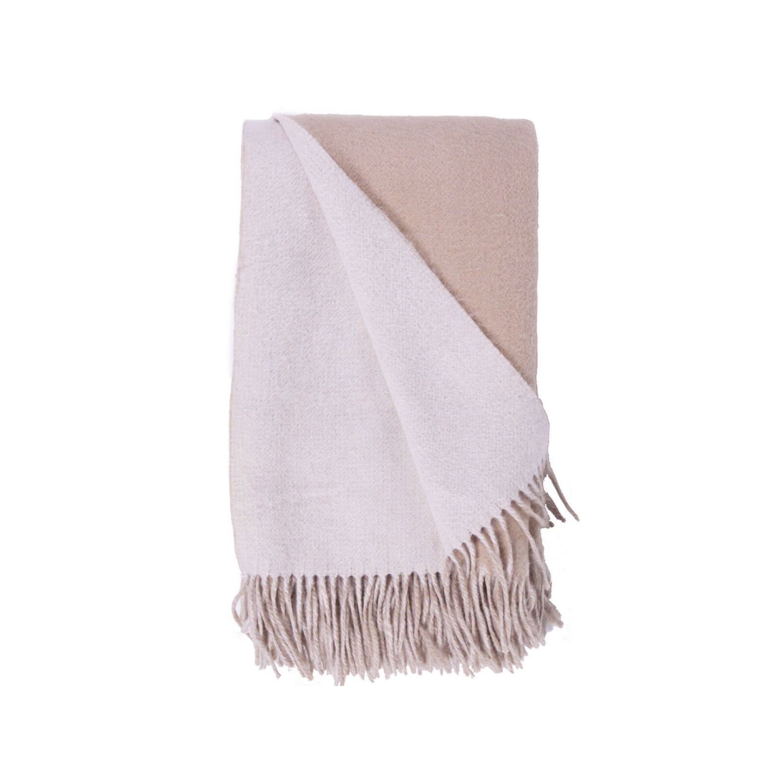 Wool and Cashmere Woven Throw in Cream & Taupe