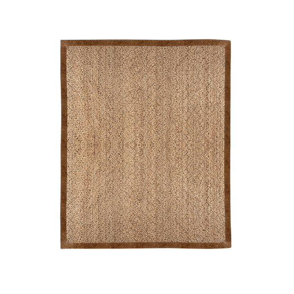 Woven Jute Rug with Leather Border