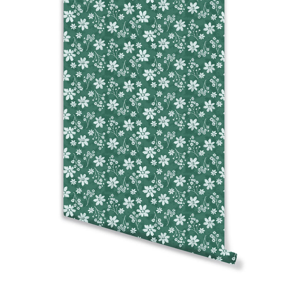 Zoe Wallpaper in Deep Green