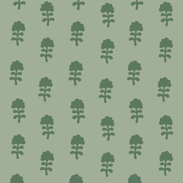 Birdie Fabric in Olive on Sage