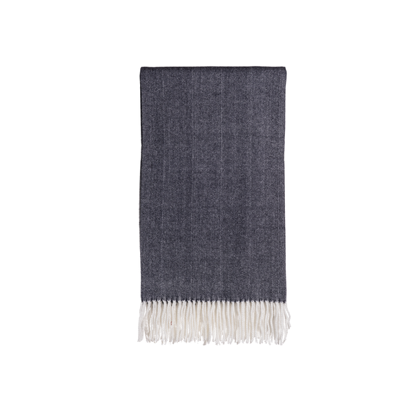 Gemma Throw in Midnight Herringbone