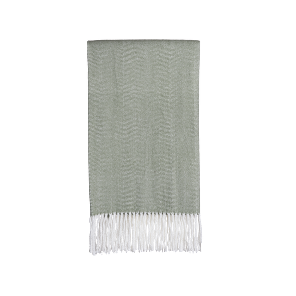 Gemma Throw in Sage Herringbone