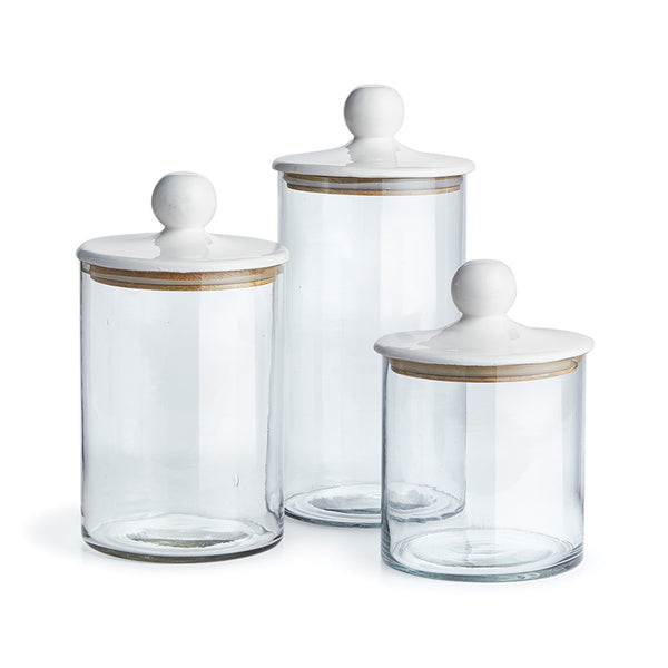 Glass Canisters With White Lids