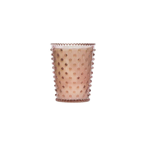 Hobnail Glass Candle Coral