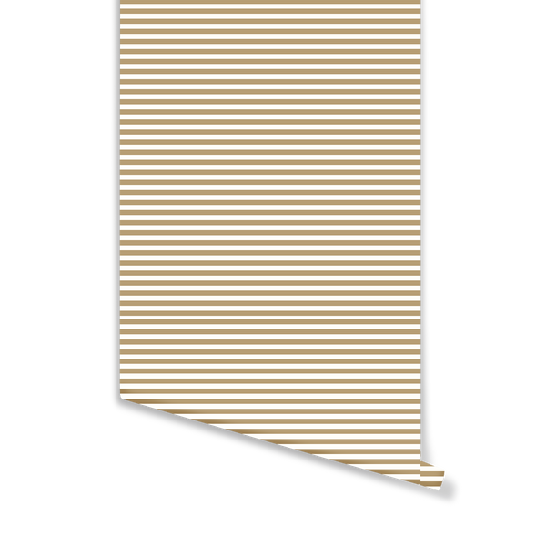 Mini Coastal Stripe Wallpaper in Camel