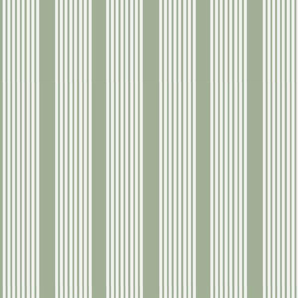 Oscar Stripe Fabric in Sage