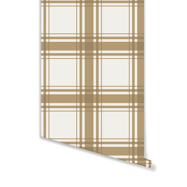 Oxford Plaid Wallpaper in Camel